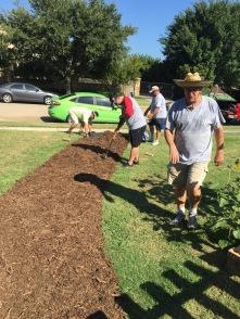 Creating a garden path.